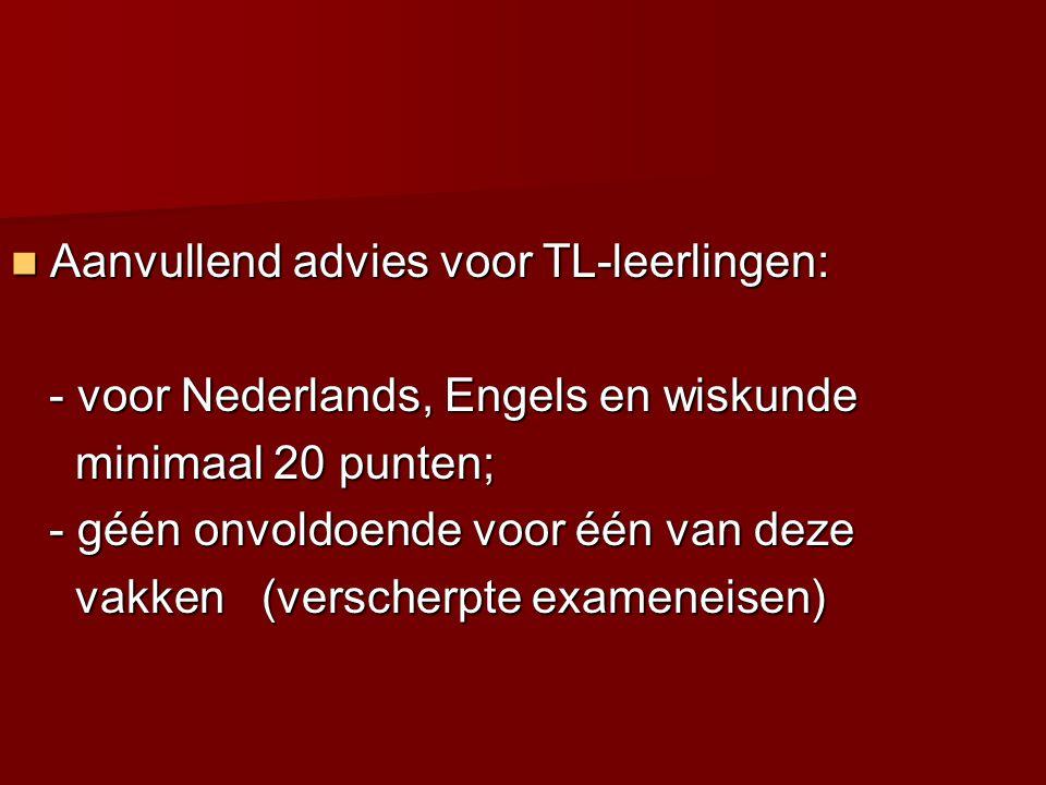 Aanvullend advies voor TL-leerlingen: - voor Nederlands, Engels en wiskunde - voor Nederlands, Engels en wiskunde minimaal 20 punten; minimaal 20 pu