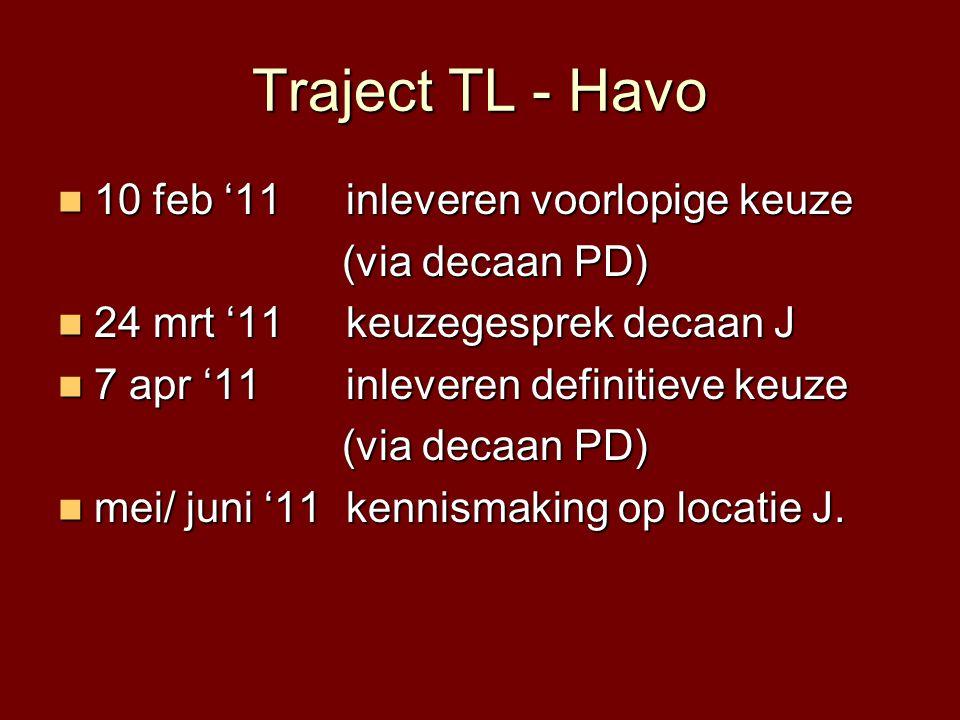 Traject TL - Havo  10 feb '11 inleveren voorlopige keuze (via decaan PD) (via decaan PD)  24 mrt '11 keuzegesprek decaan J  7 apr '11 inleveren def