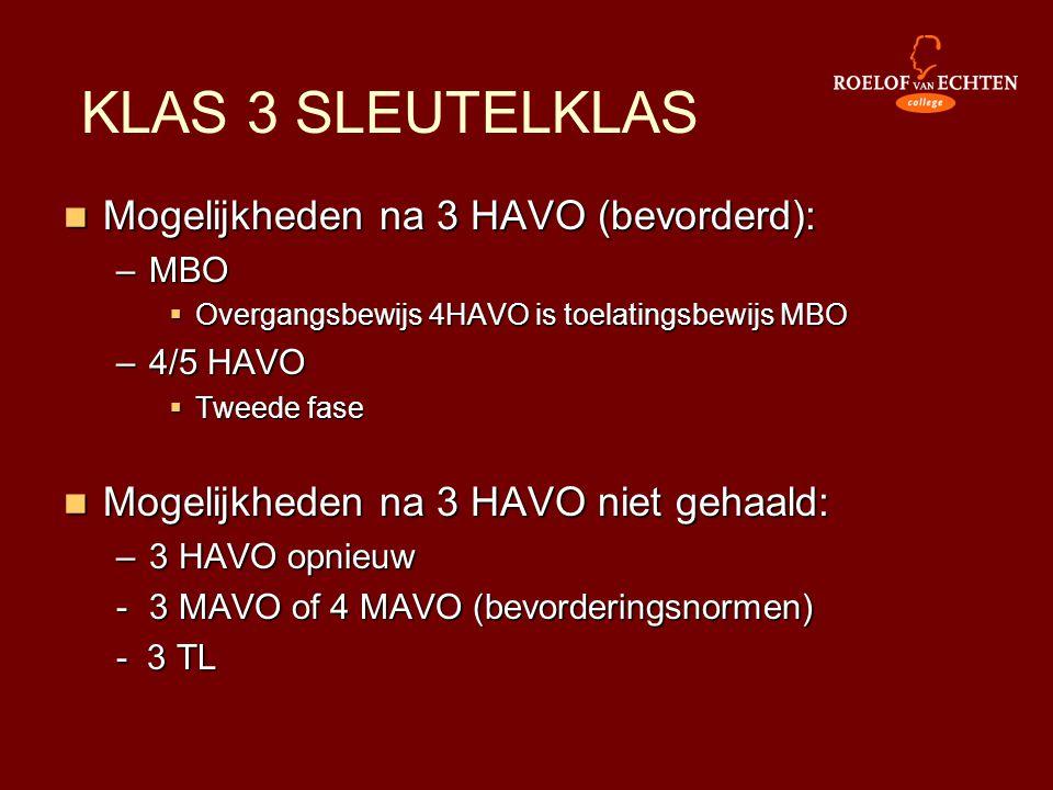 Mogelijkheden na 3 HAVO (bevorderd): –MBO  Overgangsbewijs 4HAVO is toelatingsbewijs MBO –4/5 HAVO  Tweede fase  Mogelijkheden na 3 HAVO niet geh