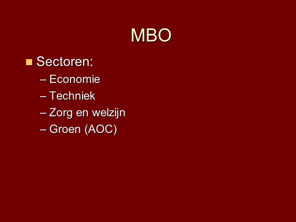 MBO  Sectoren: –Economie –Techniek –Zorg en welzijn –Groen (AOC)