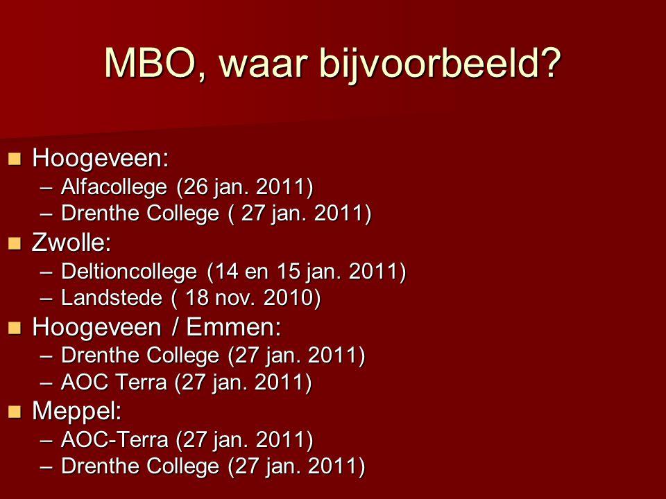 MBO, waar bijvoorbeeld?  Hoogeveen: –Alfacollege (26 jan. 2011) –Drenthe College ( 27 jan. 2011)  Zwolle: –Deltioncollege (14 en 15 jan. 2011) –Land