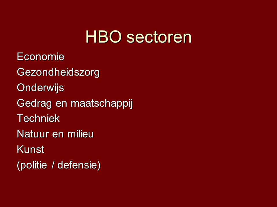 HBO sectoren EconomieGezondheidszorgOnderwijs Gedrag en maatschappij Techniek Natuur en milieu Kunst (politie / defensie)