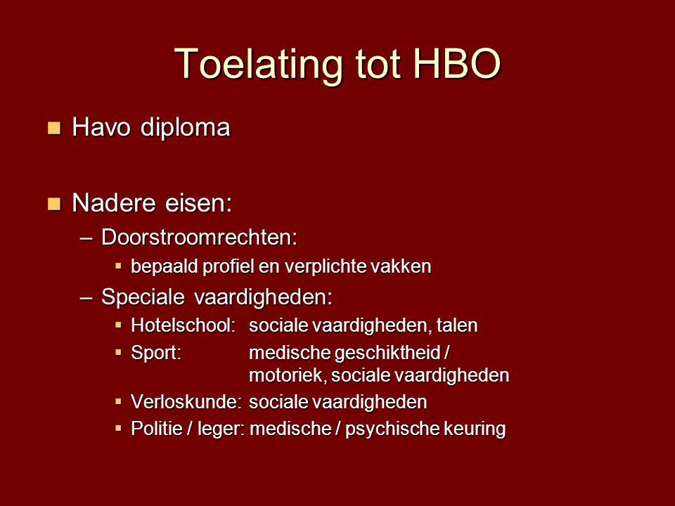 Toelating tot HBO  Havo diploma  Nadere eisen: –Doorstroomrechten:  bepaald profiel en verplichte vakken –Speciale vaardigheden:  Hotelschool: soc