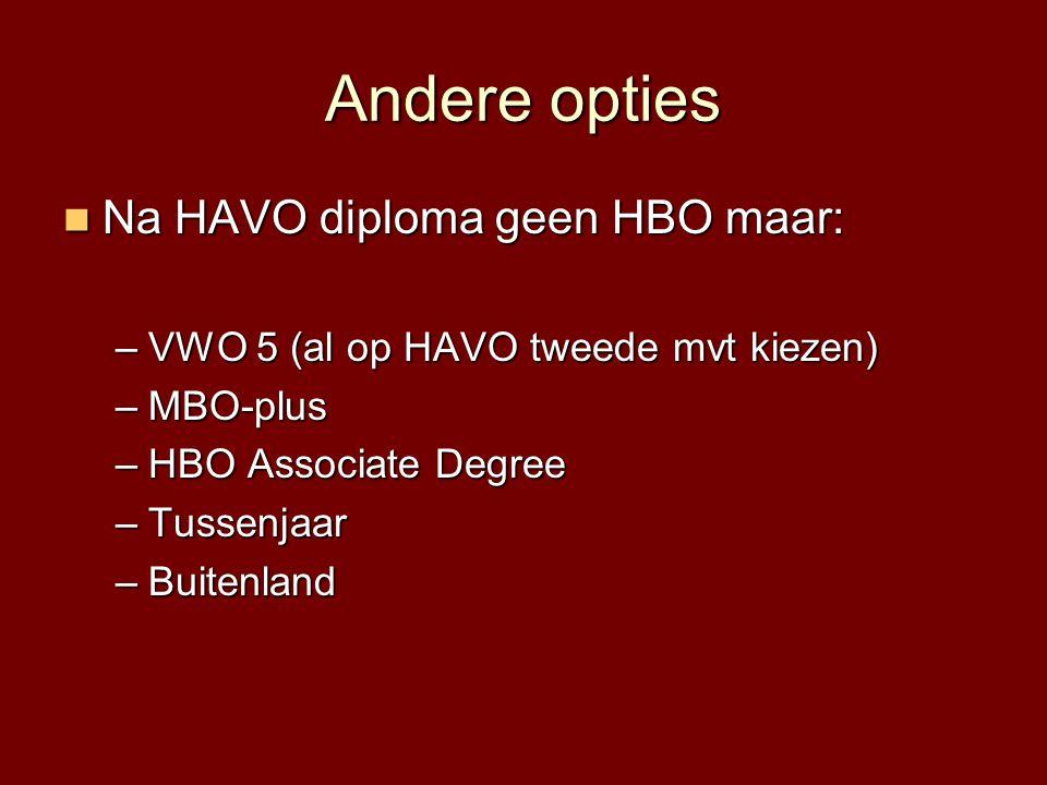 Andere opties  Na HAVO diploma geen HBO maar: –VWO 5 (al op HAVO tweede mvt kiezen) –MBO-plus –HBO Associate Degree –Tussenjaar –Buitenland