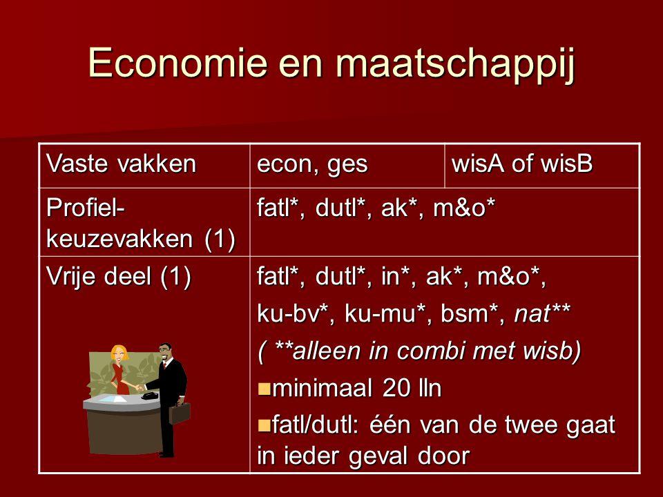 Economie en maatschappij Vaste vakken econ, ges wisA of wisB Profiel- keuzevakken (1) fatl*, dutl*, ak*, m&o* Vrije deel (1) fatl*, dutl*, in*, ak*, m