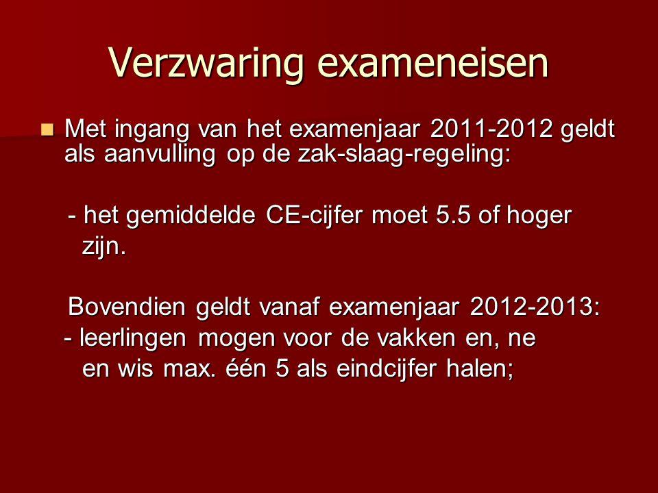 Verzwaring exameneisen  Met ingang van het examenjaar 2011-2012 geldt als aanvulling op de zak-slaag-regeling: - het gemiddelde CE-cijfer moet 5.5 of