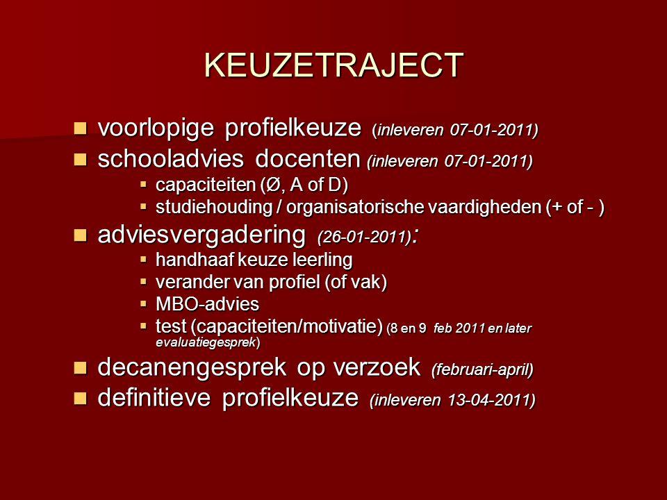 KEUZETRAJECT  voorlopige profielkeuze (inleveren 07-01-2011)  schooladvies docenten (inleveren 07-01-2011)  capaciteiten (Ø, A of D)  studiehoudin