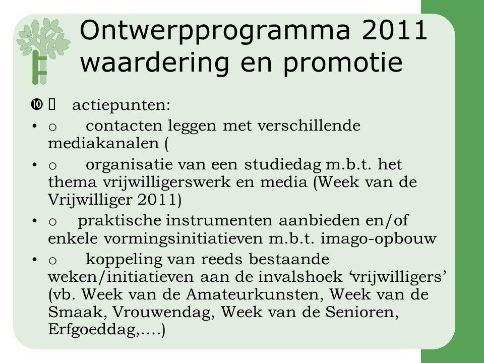 Ontwerpprogramma 2011 waardering en promotie  actiepunten: •o contacten leggen met verschillende mediakanalen ( •o organisatie van een studiedag m.b.t.