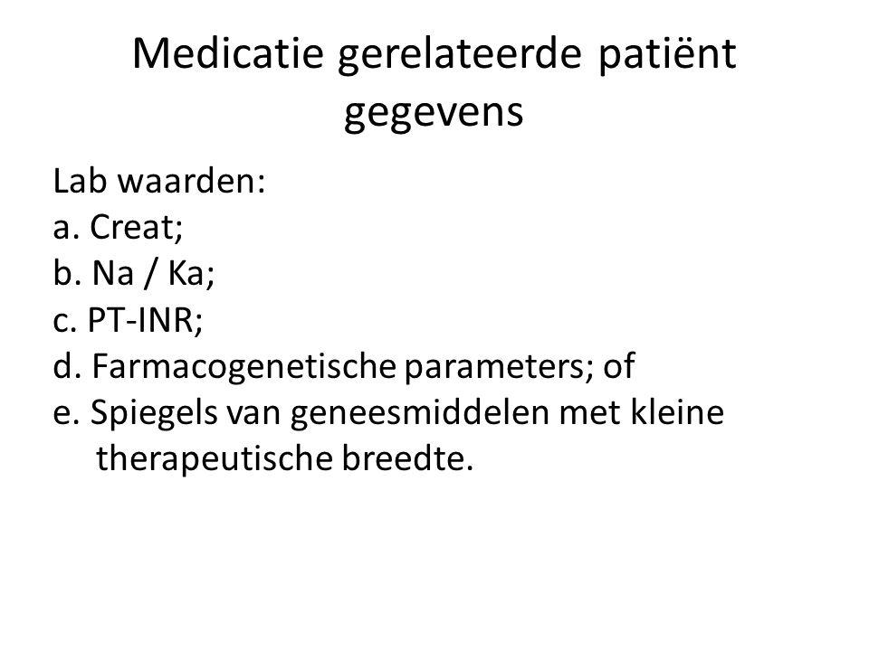 Medicatie gerelateerde patiënt gegevens Lab waarden: a. Creat; b. Na / Ka; c. PT-INR; d. Farmacogenetische parameters; of e. Spiegels van geneesmidde