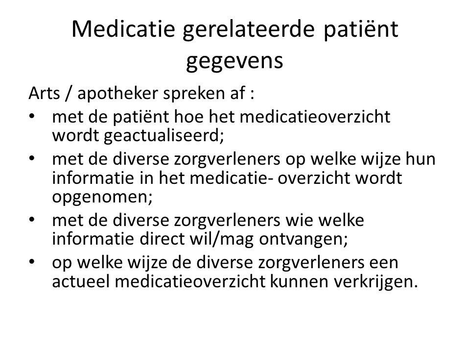 Medicatie gerelateerde patiënt gegevens Arts / apotheker spreken af : • met de patiënt hoe het medicatieoverzicht wordt geactualiseerd; • met de div