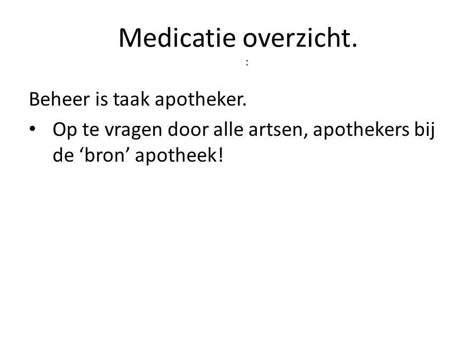 Medicatie overzicht. : Beheer is taak apotheker. • Op te vragen door alle artsen, apothekers bij de 'bron' apotheek!
