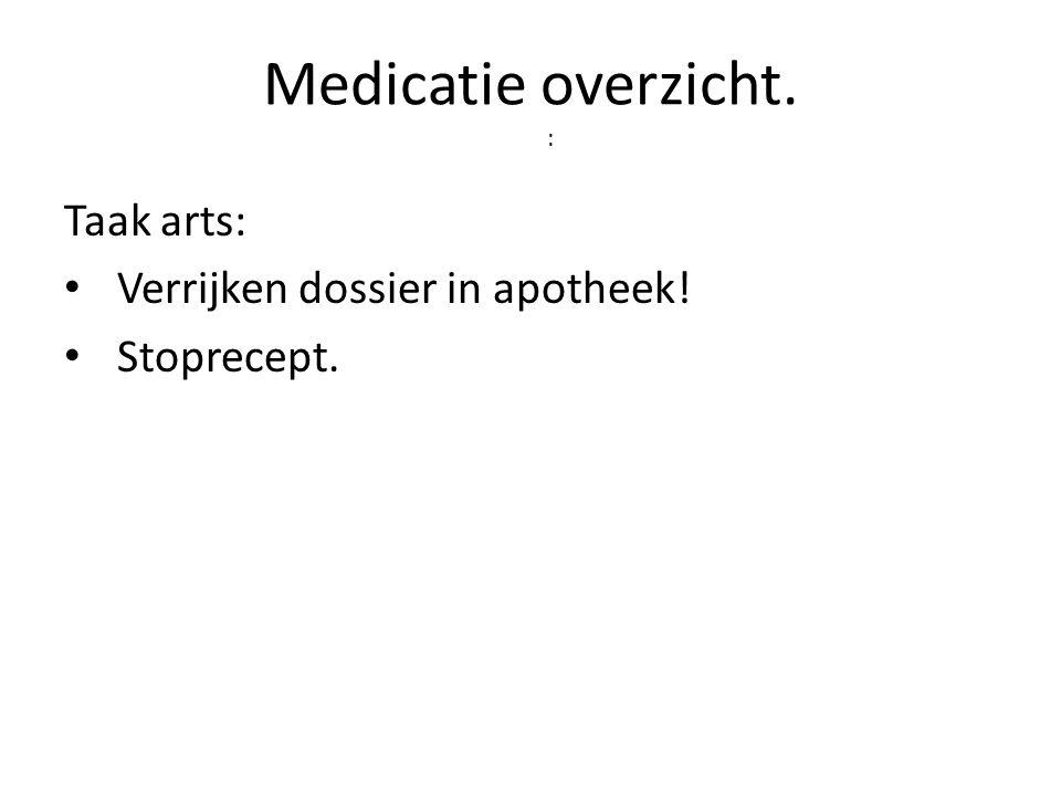 Medicatie overzicht. : Taak arts: • Verrijken dossier in apotheek! • Stoprecept.