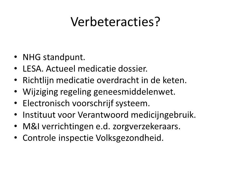 Verbeteracties? • NHG standpunt. • LESA. Actueel medicatie dossier. • Richtlijn medicatie overdracht in de keten. • Wijziging regeling geneesmiddelenw