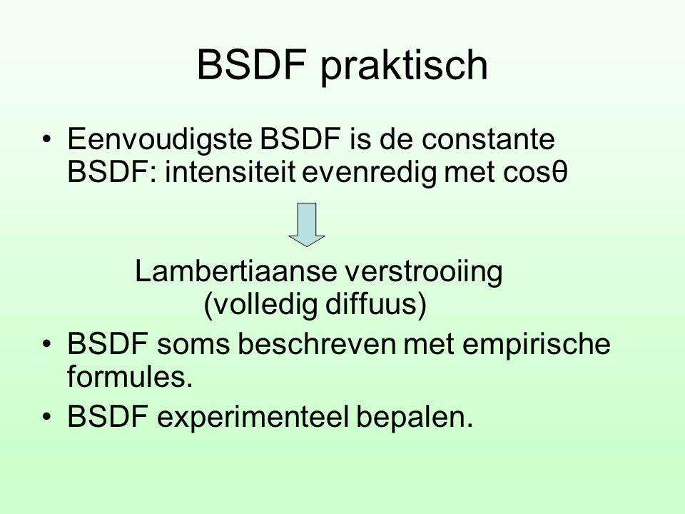 BSDF praktisch •Eenvoudigste BSDF is de constante BSDF: intensiteit evenredig met cosθ Lambertiaanse verstrooiing (volledig diffuus) •BSDF soms beschr