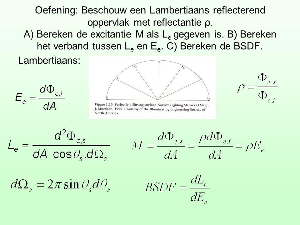 Oefening: Beschouw een Lambertiaans reflecterend oppervlak met reflectantie ρ. A) Bereken de excitantie M als L e gegeven is. B) Bereken het verband t