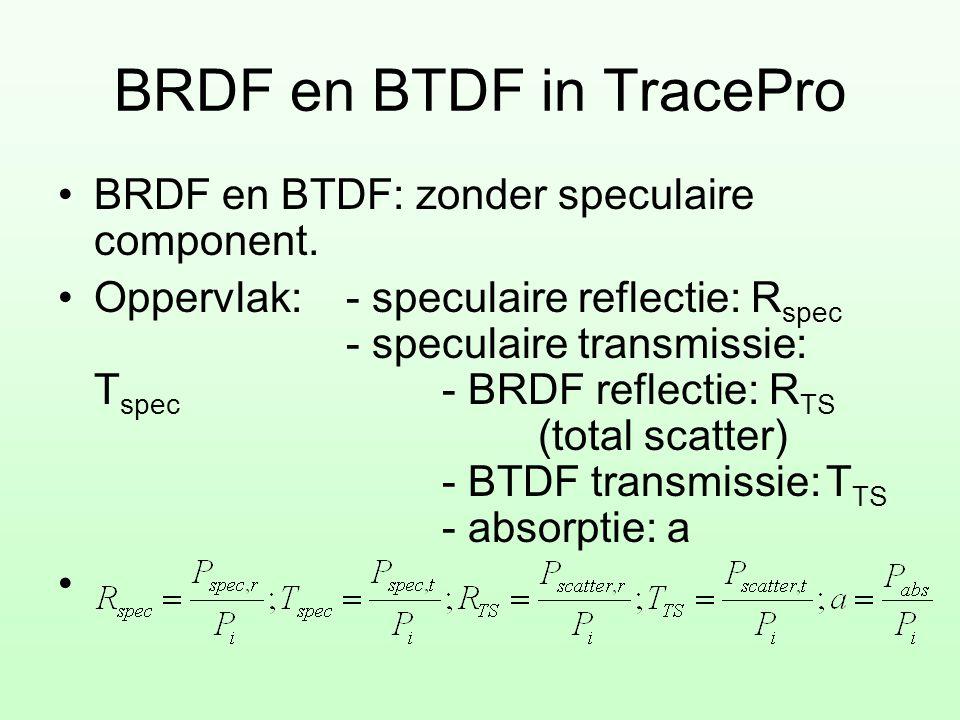 BRDF en BTDF in TracePro •BRDF en BTDF: zonder speculaire component. •Oppervlak:- speculaire reflectie: R spec - speculaire transmissie: T spec - BRDF