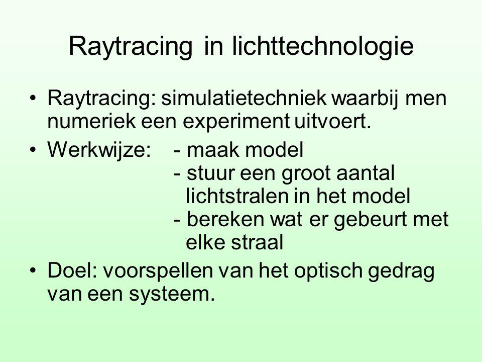 Raytracing in lichttechnologie •Raytracing: simulatietechniek waarbij men numeriek een experiment uitvoert. •Werkwijze: - maak model - stuur een groot