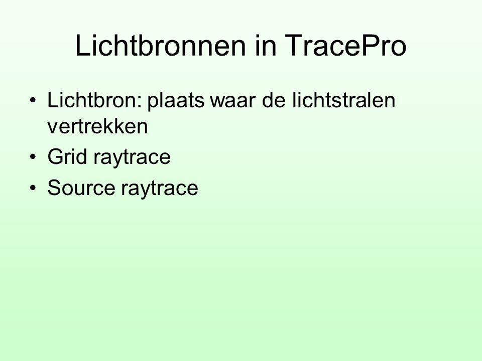 Lichtbronnen in TracePro •Lichtbron: plaats waar de lichtstralen vertrekken •Grid raytrace •Source raytrace