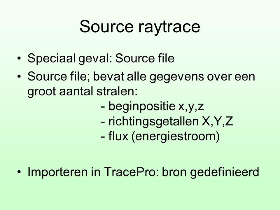 Source raytrace •Speciaal geval: Source file •Source file; bevat alle gegevens over een groot aantal stralen: - beginpositie x,y,z - richtingsgetallen