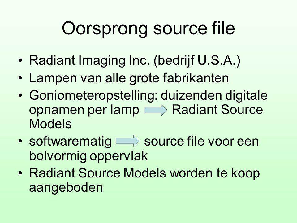Oorsprong source file •Radiant Imaging Inc. (bedrijf U.S.A.) •Lampen van alle grote fabrikanten •Goniometeropstelling: duizenden digitale opnamen per