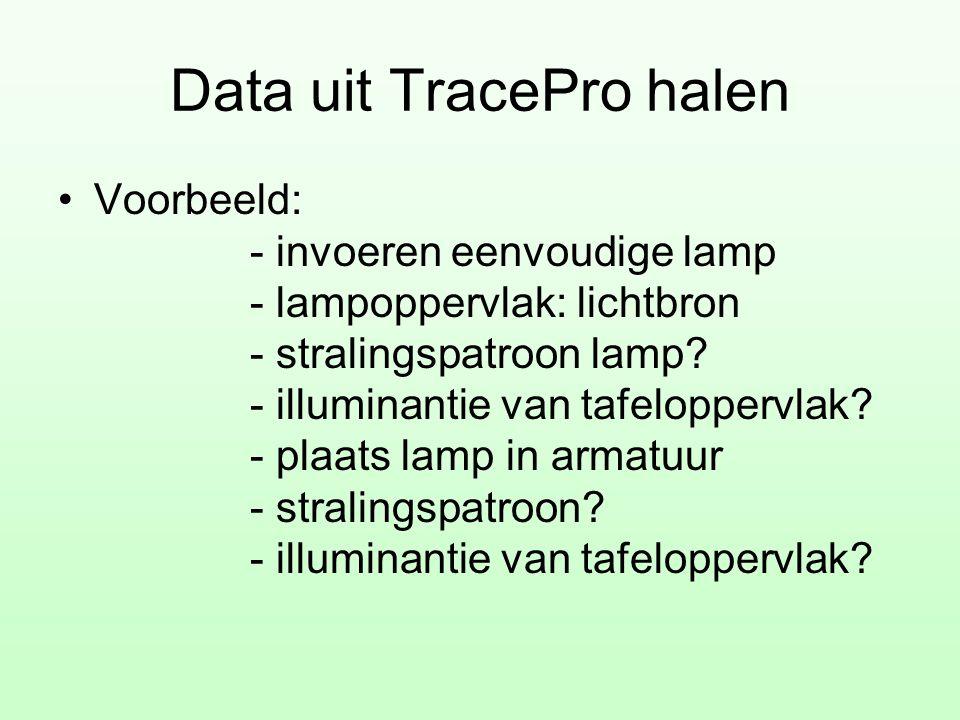 Data uit TracePro halen •Voorbeeld: - invoeren eenvoudige lamp - lampoppervlak: lichtbron - stralingspatroon lamp? - illuminantie van tafeloppervlak?