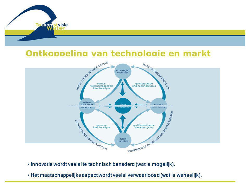 Ontkoppeling van technologie en markt • Innovatie wordt veelal te technisch benaderd (wat is mogelijk). • Het maatschappelijke aspect wordt veelal ver