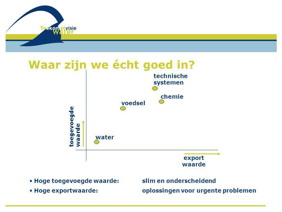 export waarde toegevoegde waarde • Hoge toegevoegde waarde:slim en onderscheidend • Hoge exportwaarde: oplossingen voor urgente problemen water voedsel chemie technische systemen Waar zijn we écht goed in?