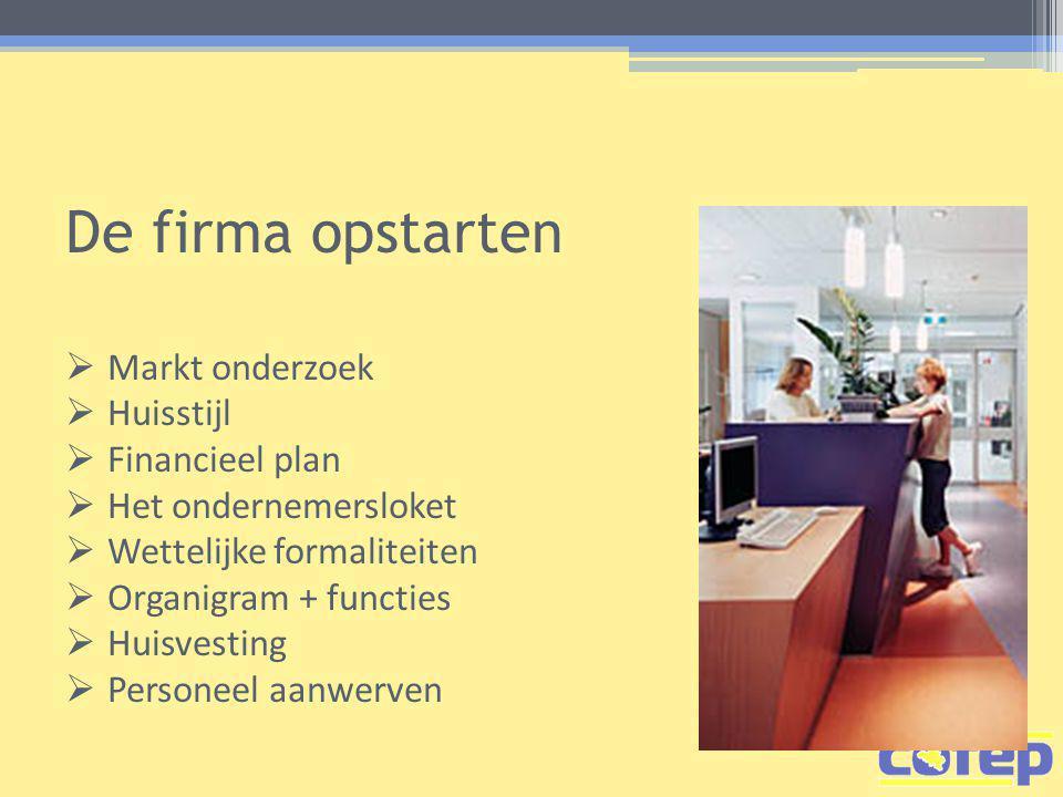 De firma opstarten  Markt onderzoek  Huisstijl  Financieel plan  Het ondernemersloket  Wettelijke formaliteiten  Organigram + functies  Huisvesting  Personeel aanwerven
