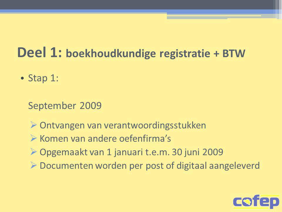Deel 1: boekhoudkundige registratie + BTW • Stap 1: September 2009  Ontvangen van verantwoordingsstukken  Komen van andere oefenfirma's  Opgemaakt van 1 januari t.e.m.