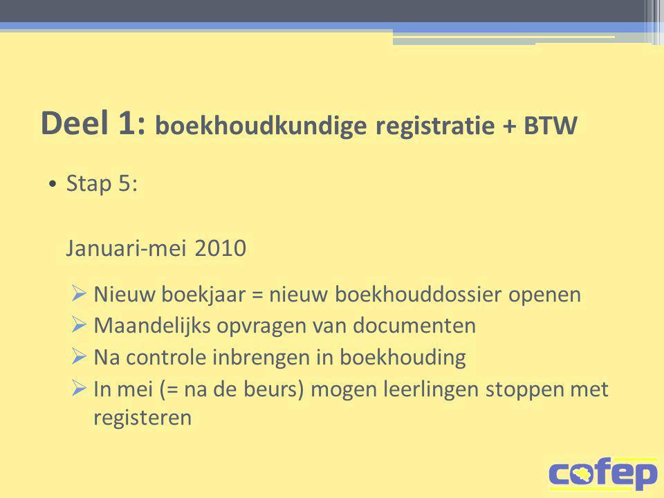 Deel 1: boekhoudkundige registratie + BTW • Stap 5: Januari-mei 2010  Nieuw boekjaar = nieuw boekhouddossier openen  Maandelijks opvragen van documenten  Na controle inbrengen in boekhouding  In mei (= na de beurs) mogen leerlingen stoppen met registeren