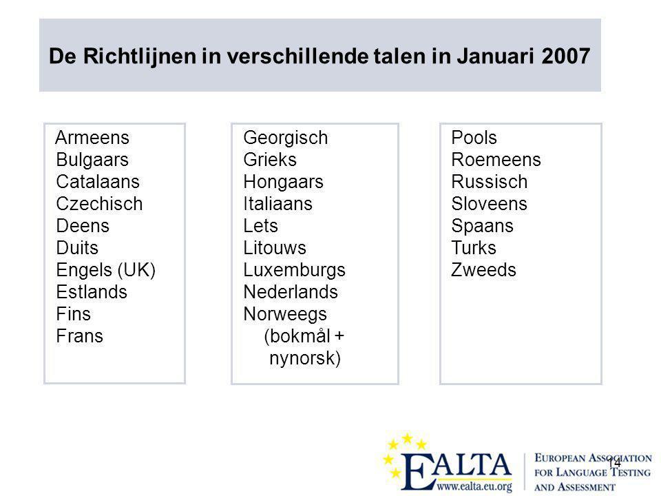 14 Armeens Bulgaars Catalaans Czechisch Deens Duits Engels (UK) Estlands Fins Frans Georgisch Grieks Hongaars Italiaans Lets Litouws Luxemburgs Nederlands Norweegs (bokmål + nynorsk) Pools Roemeens Russisch Sloveens Spaans Turks Zweeds De Richtlijnen in verschillende talen in Januari 2007