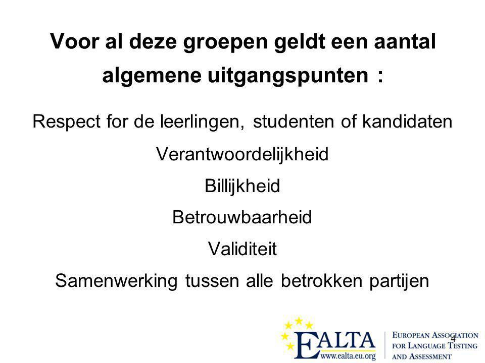 15 Voor de volledige text van de EALTA richtlijnen voor een goede praktijk in het toetsen en beoordelen van taalvaardigheid, zie www.ealta.eu.org