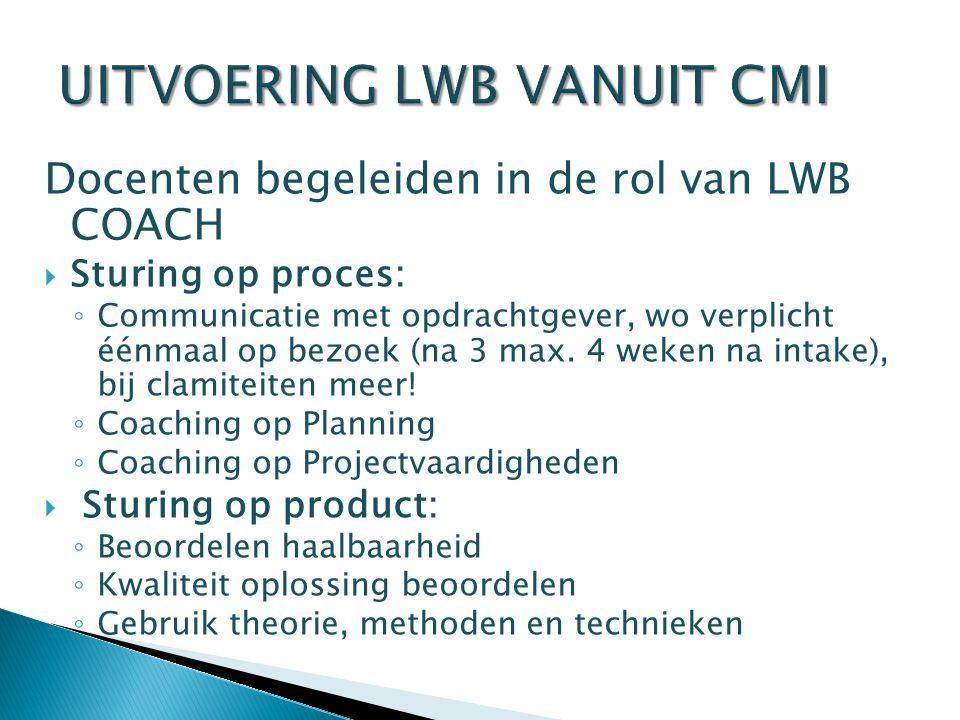 UITVOERING LWB VANUIT CMI Docenten begeleiden in de rol van LWB COACH  Sturing op proces: ◦ Communicatie met opdrachtgever, wo verplicht éénmaal op bezoek (na 3 max.