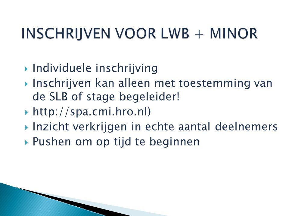  Individuele inschrijving  Inschrijven kan alleen met toestemming van de SLB of stage begeleider.