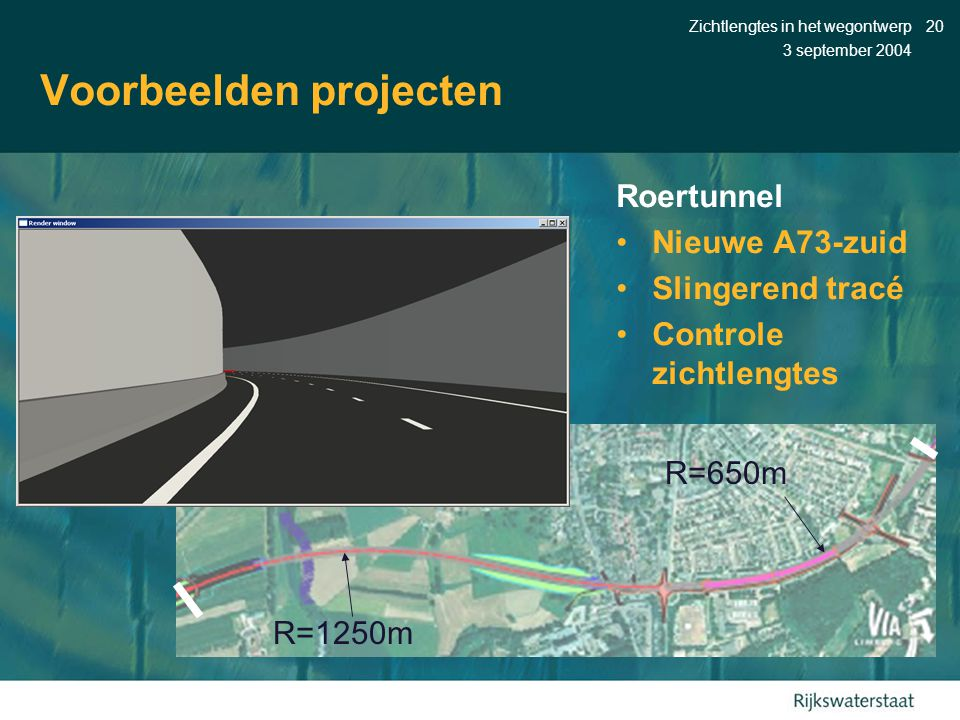 3 september 2004 Zichtlengtes in het wegontwerp20 Voorbeelden projecten Roertunnel •Nieuwe A73-zuid •Slingerend tracé •Controle zichtlengtes R=1250m R=650m