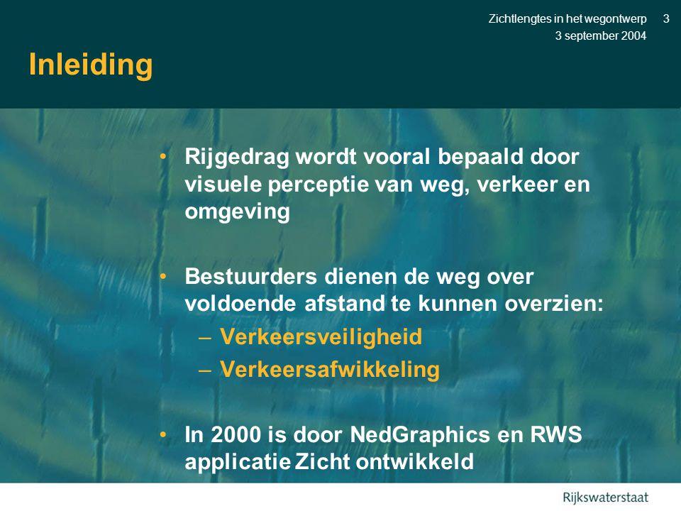 3 september 2004 Zichtlengtes in het wegontwerp24 Ten slotte Voor meer informatie over applicatie Zicht: NedGraphics, Theo Wiering 0347-329617 Theo.wiering@nedgraphics.nl Voor meer informatie over toepassing: Bouwdienst RWS, Patrick Broeren 055-5776287 p.t.w.broeren@bwd.rws.minvenw.nl