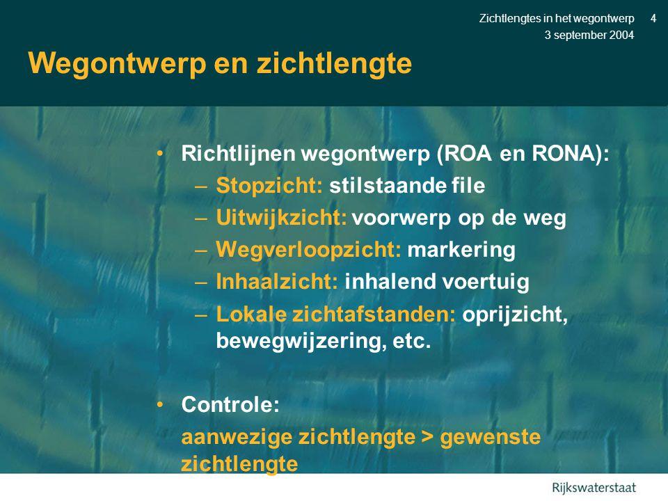 3 september 2004 Zichtlengtes in het wegontwerp4 Wegontwerp en zichtlengte •Richtlijnen wegontwerp (ROA en RONA): –Stopzicht: stilstaande file –Uitwij