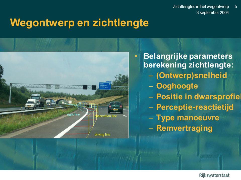 3 september 2004 Zichtlengtes in het wegontwerp5 Wegontwerp en zichtlengte •Belangrijke parameters berekening zichtlengte: –(Ontwerp)snelheid –Ooghoog
