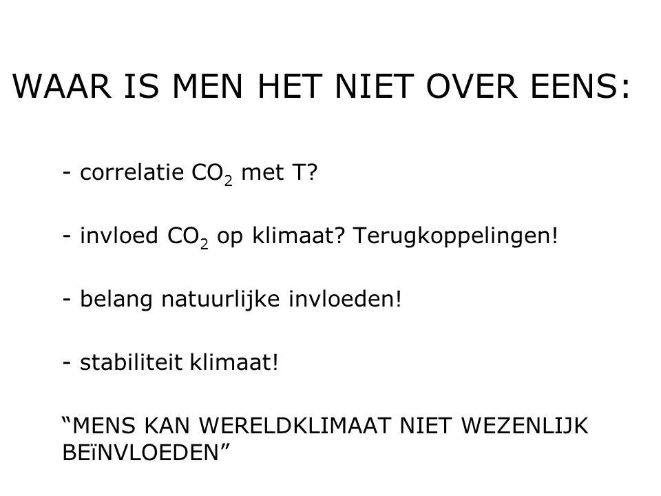 WAAR IS MEN HET NIET OVER EENS: - correlatie CO 2 met T? - invloed CO 2 op klimaat? Terugkoppelingen! - belang natuurlijke invloeden! - stabiliteit kl