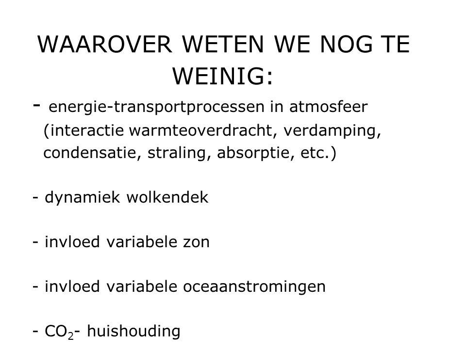 WAAROVER WETEN WE NOG TE WEINIG: - energie-transportprocessen in atmosfeer (interactie warmteoverdracht, verdamping, condensatie, straling, absorptie,