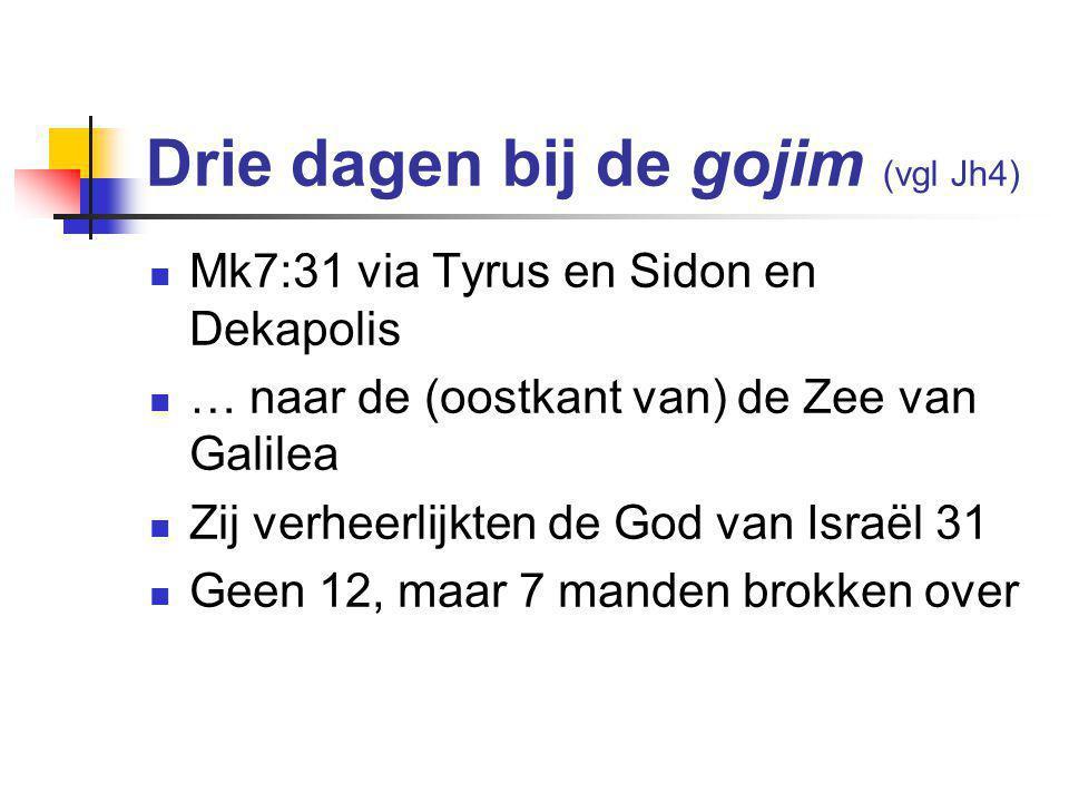 Drie dagen bij de gojim (vgl Jh4)  Mk7:31 via Tyrus en Sidon en Dekapolis  … naar de (oostkant van) de Zee van Galilea  Zij verheerlijkten de God van Israël 31  Geen 12, maar 7 manden brokken over
