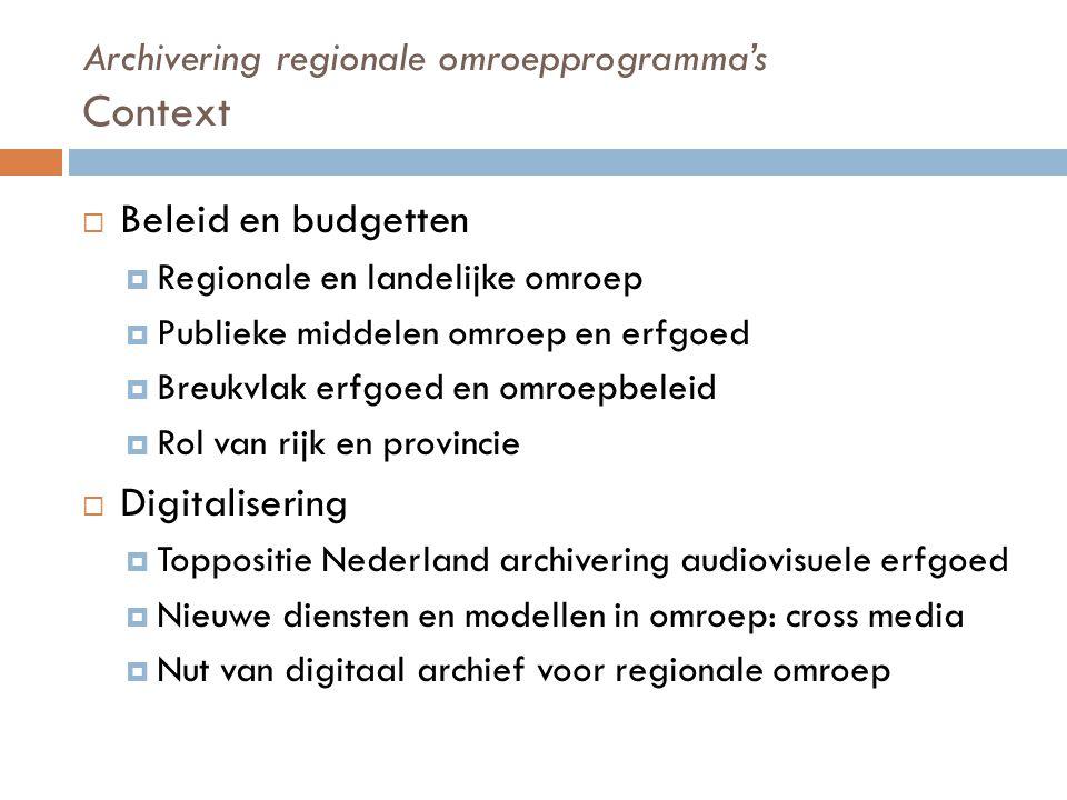 Archivering regionale omroepprogramma's Opslag, technologie en gebruik