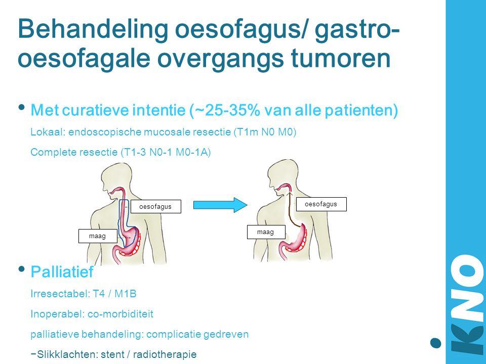 Behandeling oesofagus/ gastro- oesofagale overgangs tumoren • Met curatieve intentie (~25-35% van alle patienten) Lokaal: endoscopische mucosale resec