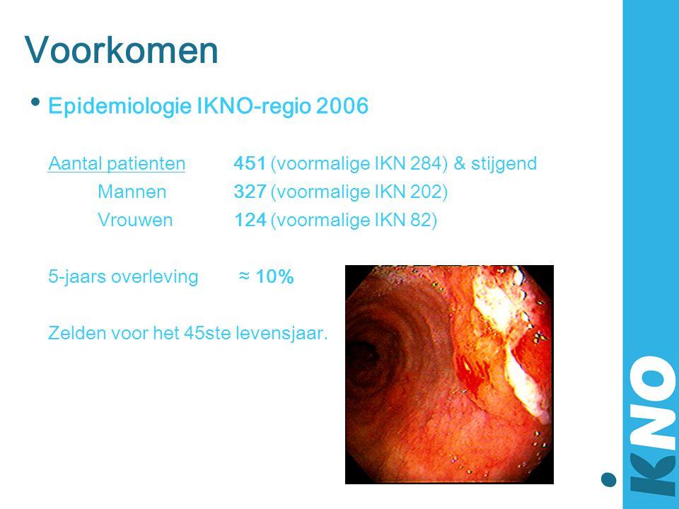 Voorkomen • Epidemiologie IKNO-regio 2006 Aantal patienten451 (voormalige IKN 284) & stijgend Mannen327 (voormalige IKN 202) Vrouwen124 (voormalige IK