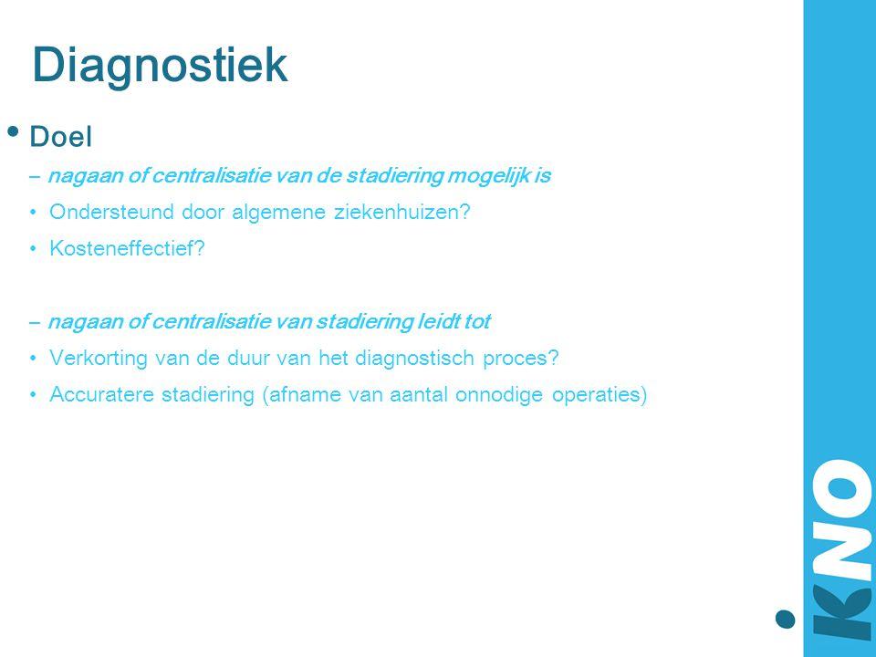 Diagnostiek • Doel – nagaan of centralisatie van de stadiering mogelijk is •Ondersteund door algemene ziekenhuizen? •Kosteneffectief? – nagaan of cent