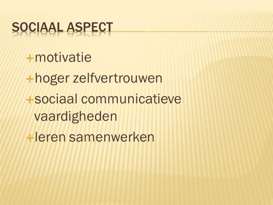 motivatie  hoger zelfvertrouwen  sociaal communicatieve vaardigheden  leren samenwerken
