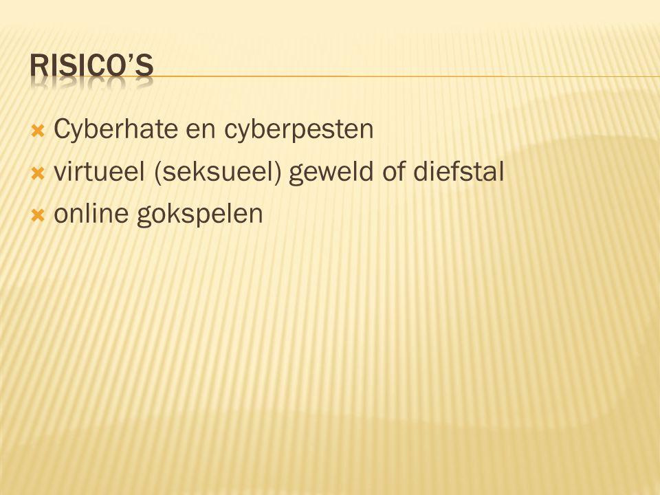  Cyberhate en cyberpesten  virtueel (seksueel) geweld of diefstal  online gokspelen