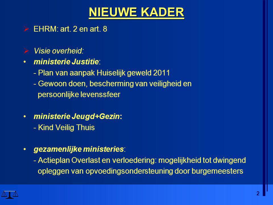 2 NIEUWE KADER  EHRM: art. 2 en art. 8  Visie overheid: •ministerie Justitie: - Plan van aanpak Huiselijk geweld 2011 - Gewoon doen, bescherming van