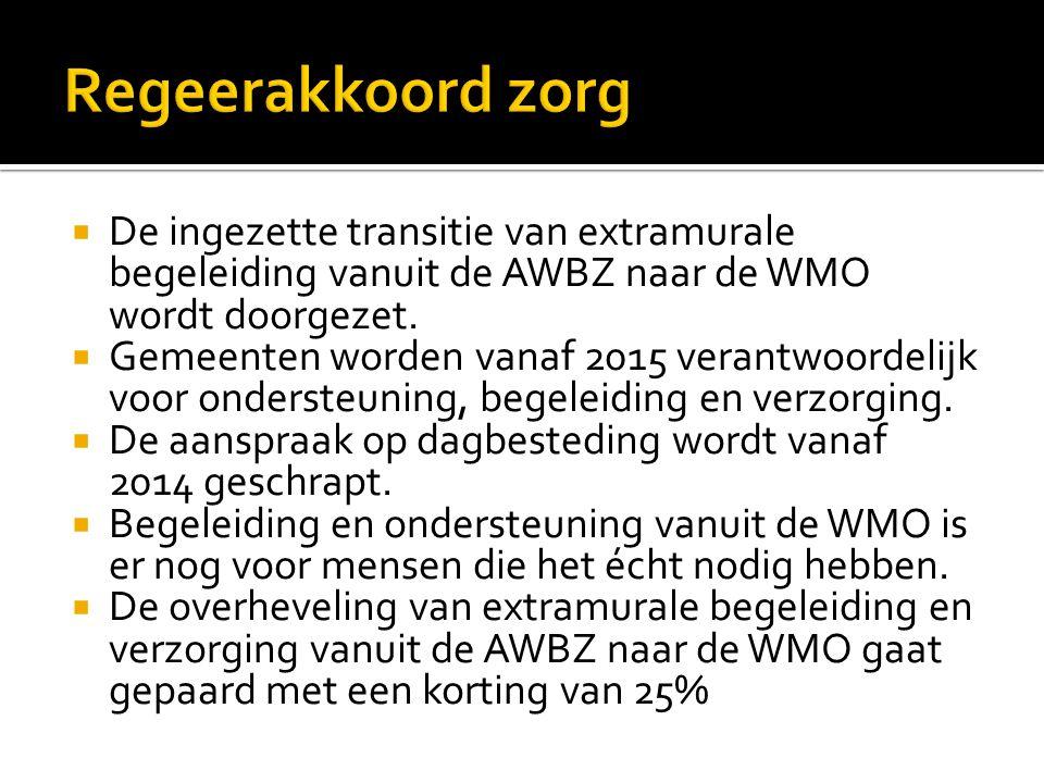  De ingezette transitie van extramurale begeleiding vanuit de AWBZ naar de WMO wordt doorgezet.