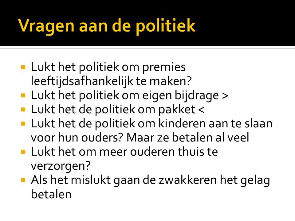  Lukt het politiek om premies leeftijdsafhankelijk te maken.